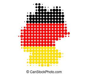 térkép, lobogó, németország
