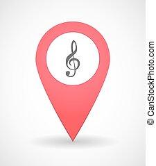 térkép, megjelöl, ikon, noha, egy, g clef