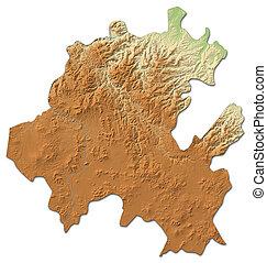 térkép, -, megkönnyebbülés, 3d-rendering, (mexico), hidalgo