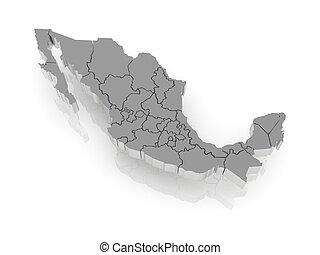 térkép, mexico., háromkiterjedésű