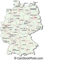 térkép, németország, autobahn