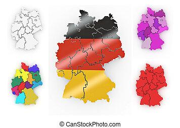 térkép, németország, háromkiterjedésű