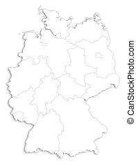 térkép, -, németország