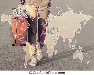 térkép, nő, megkettőz, egyesített, utazó, kitevés
