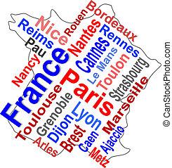 térkép, nagyobb, franciaország, szavak, városok, felhő