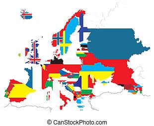 térkép, nemzeti, zászlók, áttekintés, országok