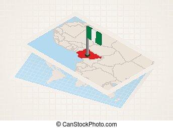 térkép, nigeria., kiválasztott, nigéria, 3, lobogó