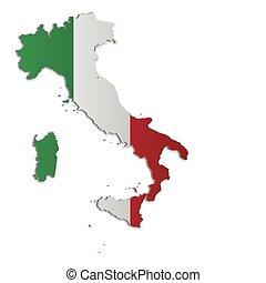 térkép, olaszország, 2