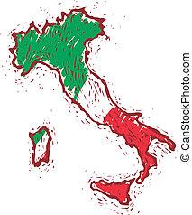 térkép, olaszország