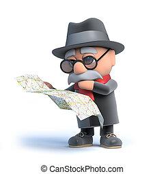 térkép olvasás, öregember, 3