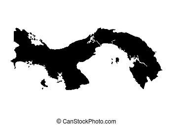 térkép, panama, fekete