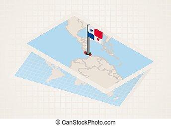 térkép, panama., kiválasztott, isometric, panama lobogó