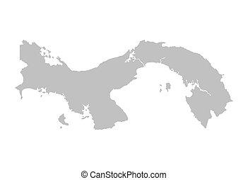 térkép, panama, szürke