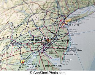 térkép, philadeplhia