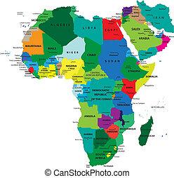 térkép, politikai, afrika