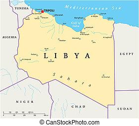 térkép, politikai, líbia