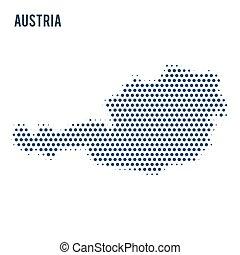 térkép, pontozott, elszigetelt, háttér., ausztria, fehér
