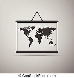 térkép, rajz, icons., tábla