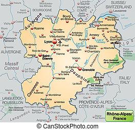 térkép, rhone-alpes