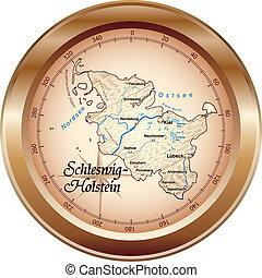 térkép, schleswig-holstein