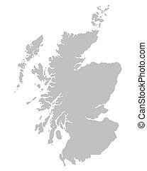 térkép, skócia, szürke