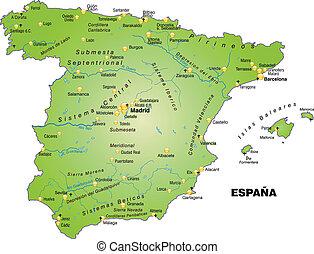 térkép, spanyolország