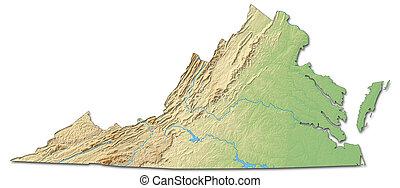 térkép, states), (united, -, virginia, megkönnyebbülés, 3d-rendering