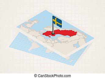 térkép, sweden., kiválasztott, isometric, sweden lobogó