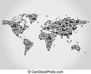 térkép, szállít