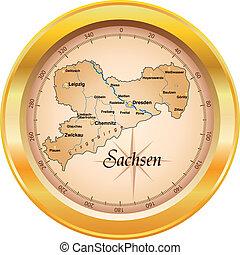 térkép, szászország
