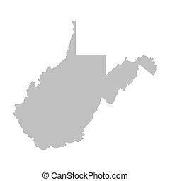 térkép, szürke, virginia, nyugat