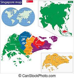 térkép, szingapúr