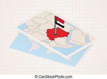 térkép, szudán, kiválasztott, sudan., 3, lobogó