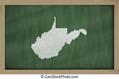 térkép, tábla, áttekintés, virginia, nyugat