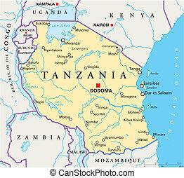 térkép, tanzánia, politikai