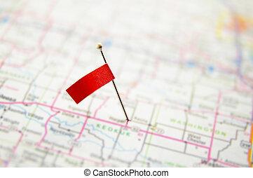 térkép tekebábu, megragadt, címke, kicsi, piros