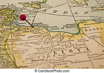 térkép, tripoli, líbia, szüret
