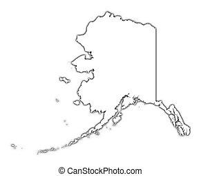térkép, (usa), alaszka, áttekintés