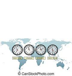 térkép, város, utazás, clocks, földdel feltölt, idő, világ