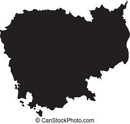 térkép, vektor, ábra, kambodzsa