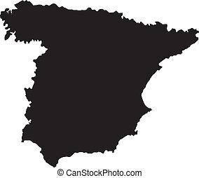 térkép, vektor, ábra, spanyolország