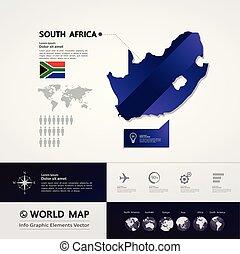 térkép, vektor, afrika, déli
