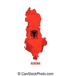 térkép, vektor, albánia, ábra