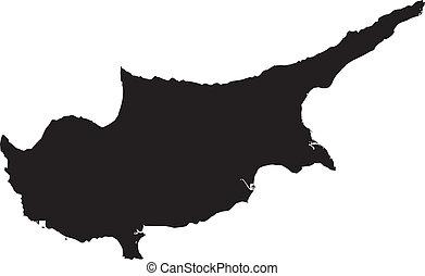térkép, vektor, ciprus, ábra