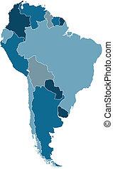 térkép, vektor, dél-amerika