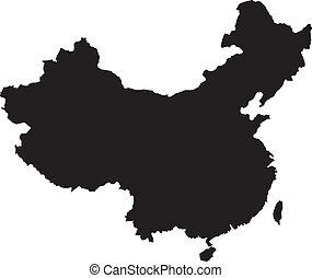 térkép, vektor, kína, ábra