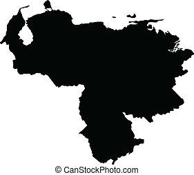 térkép, vektor, venezuela, ábra