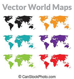 térkép, vektor, világ