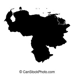 térkép, venezuela, fekete