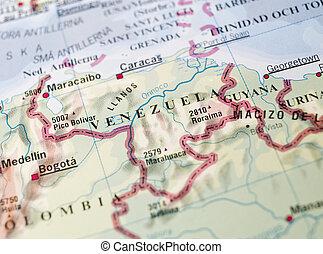 térkép, venezuela